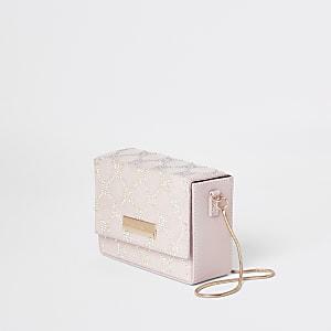 Mini besace rose claire ornée à bandoulière