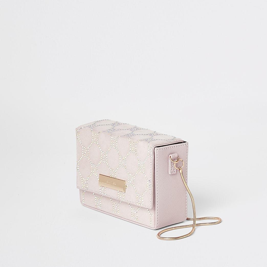 Light pink embellished boxy mini cross bag