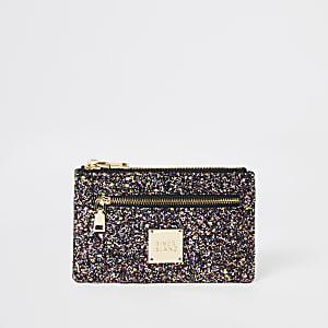 Paarse glitter mini-tasje met rits
