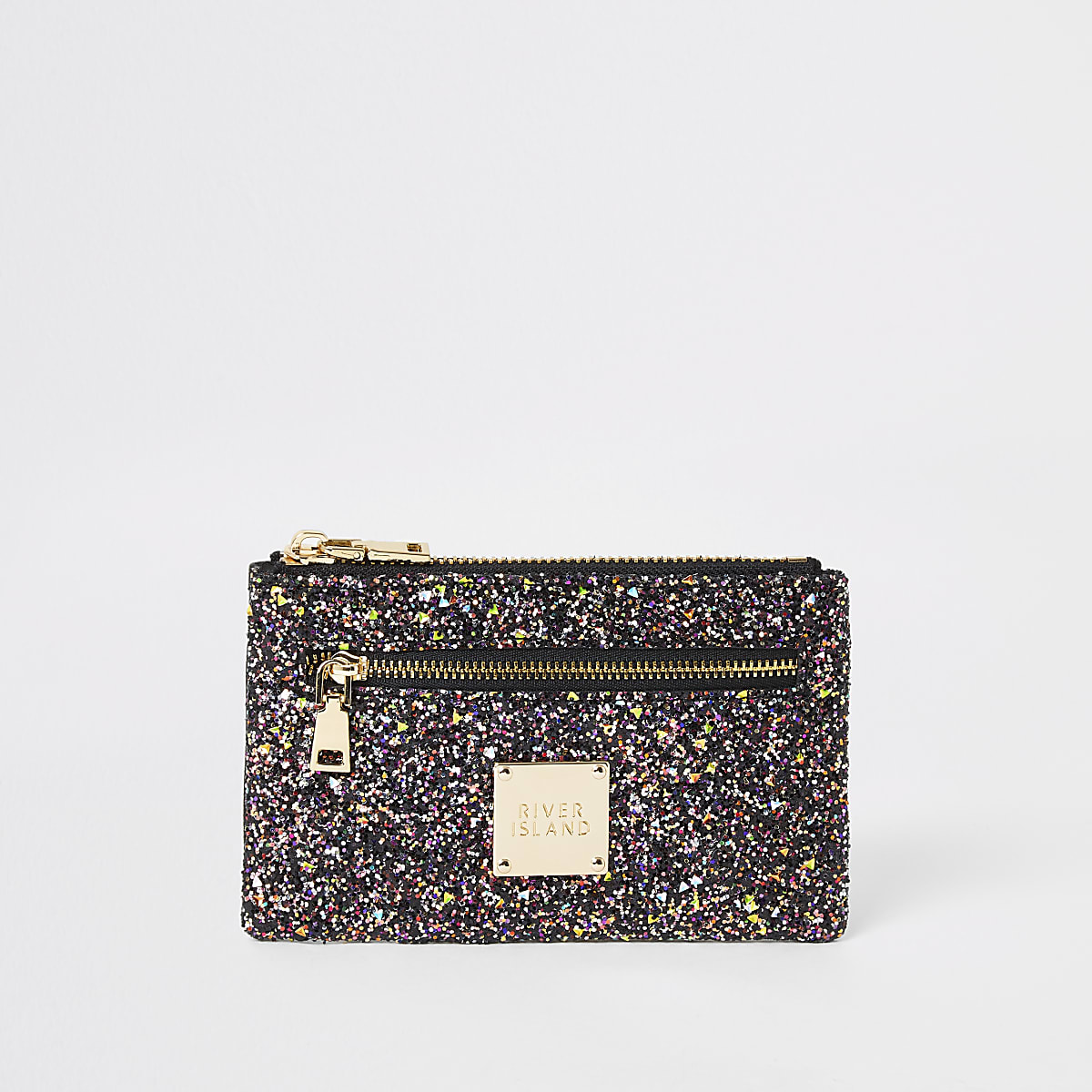 Purple glitter mini zip pouch