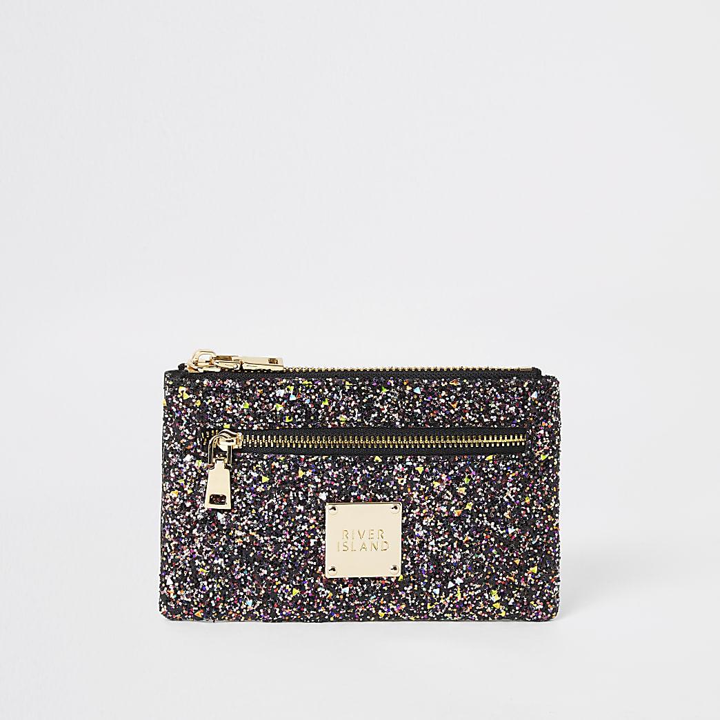 Purple glitter mini zip pouch