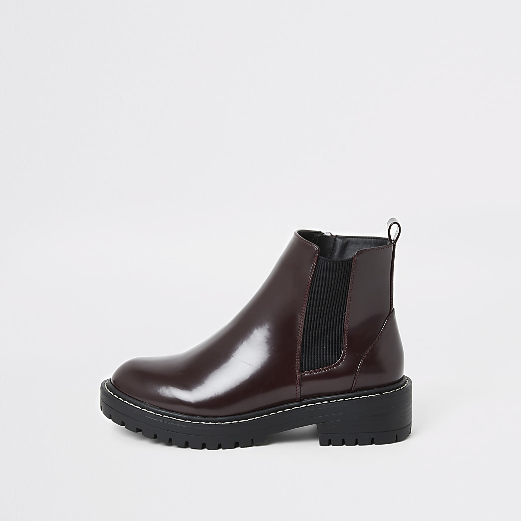 Burgundy patent chunky ankle boots