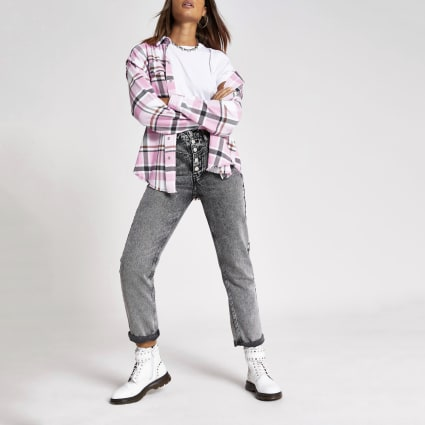 Pink check long sleeve loose fit shirt