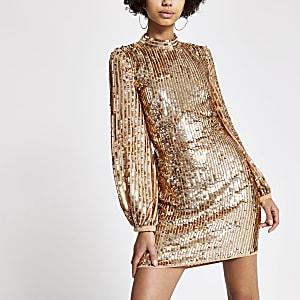 Roségoudkleurige mini-jurk met blote rug en lovertjes