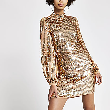Rose gold sequin open back mini dress