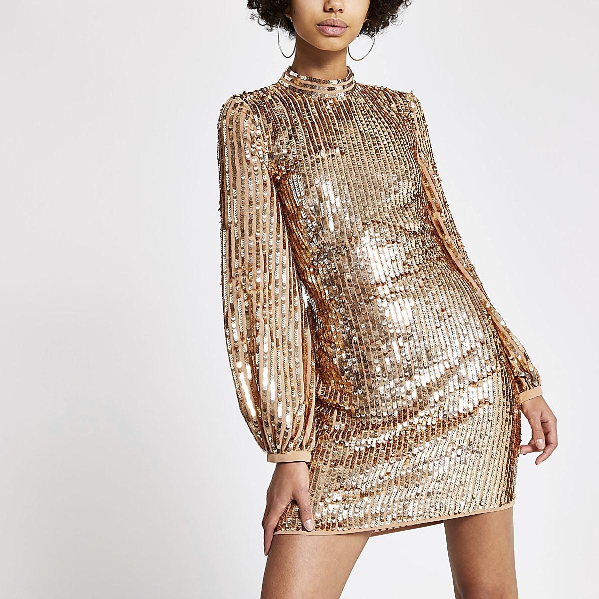 Rose gold sequin open back mini dress