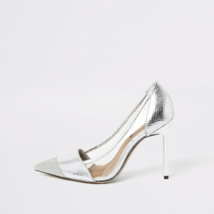 Silver embossed perspex heeled court shoe