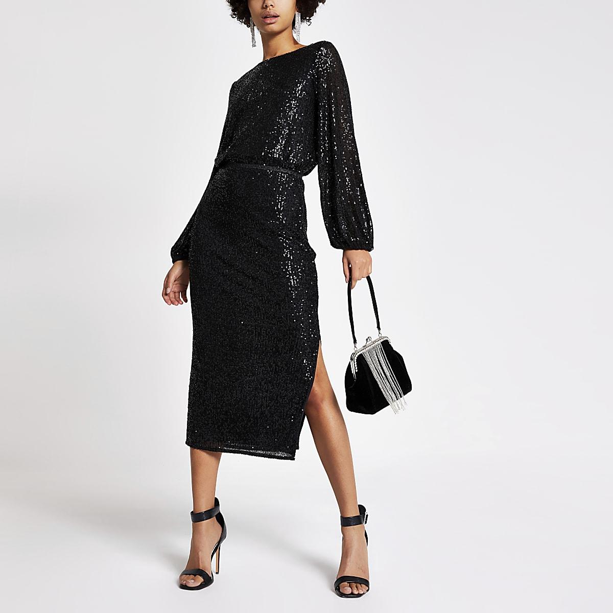 Black sequin midi skirt