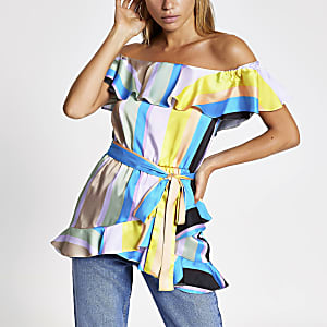 Blue stripe print frill bardot top