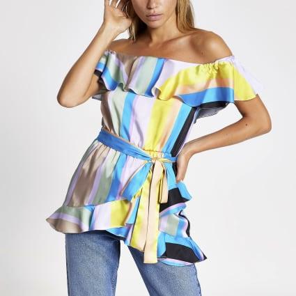 Blue stripe print frill bardot top