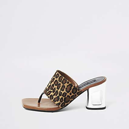 Brown leather leopard mule heeled sandal