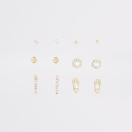 Gold colour diamante pave earring multipack