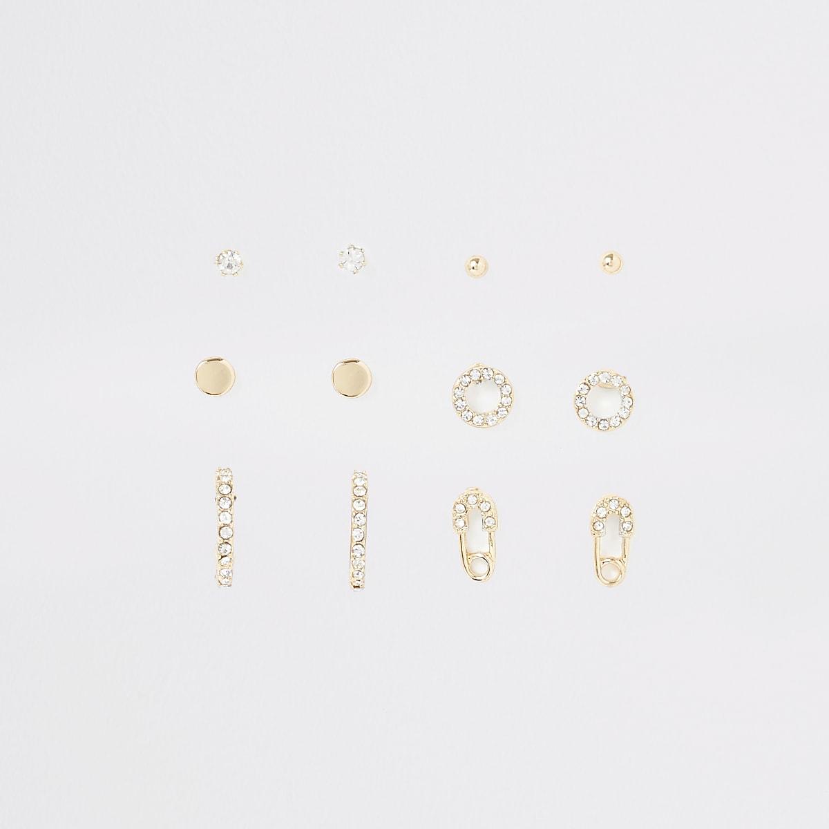 Multipack goudkleurige oorbellen met stras