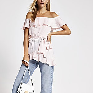 Light pink frill bardot top