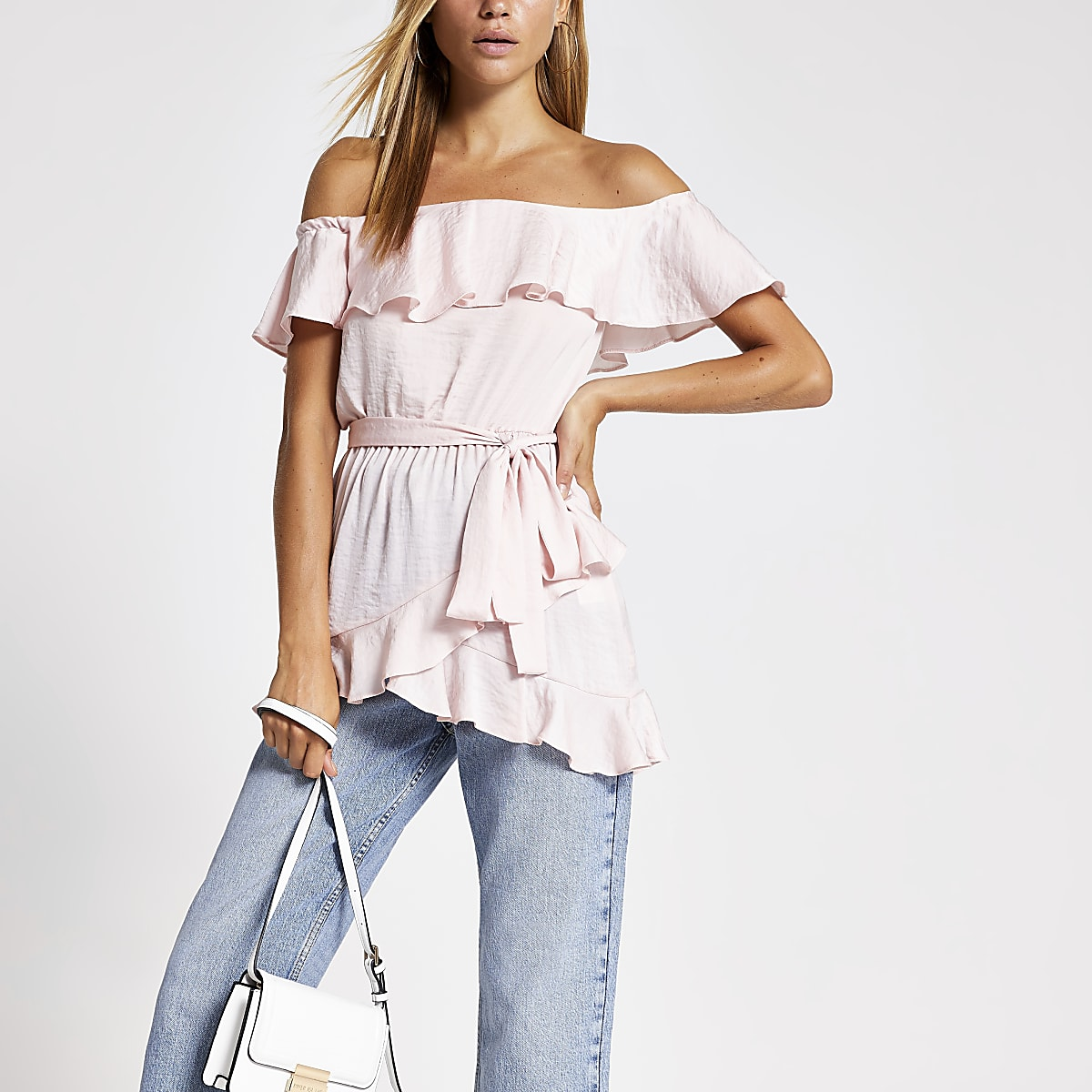Light pink frill bardot top