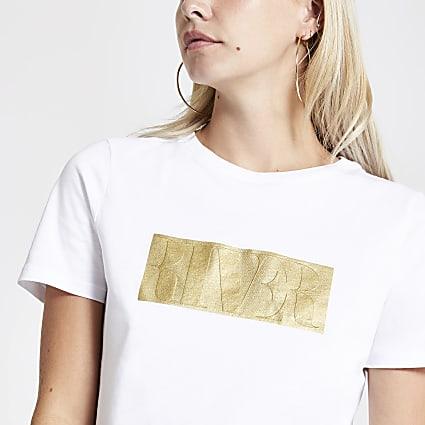 Petite white RVR foil chest print T-shirt