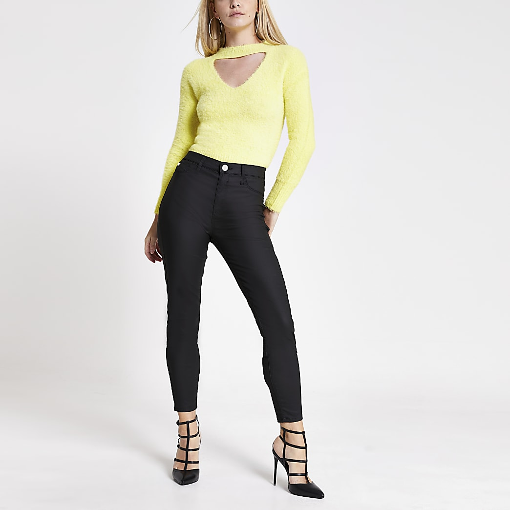Petite yellow cut out fluffy knit jumper