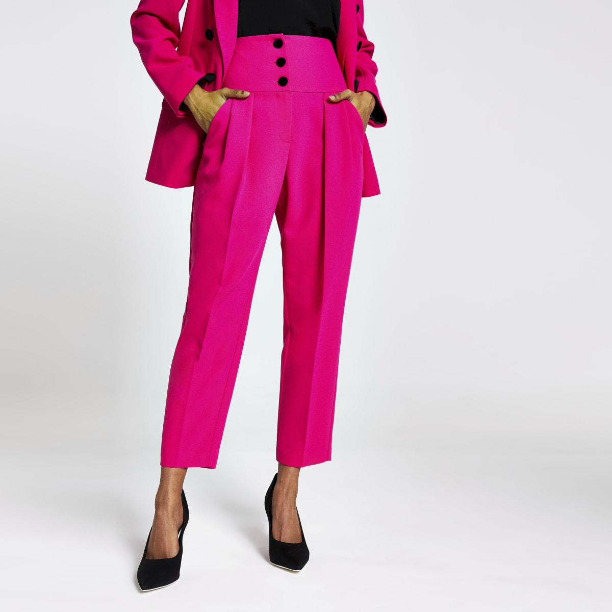 Petite pink corset tux trousers