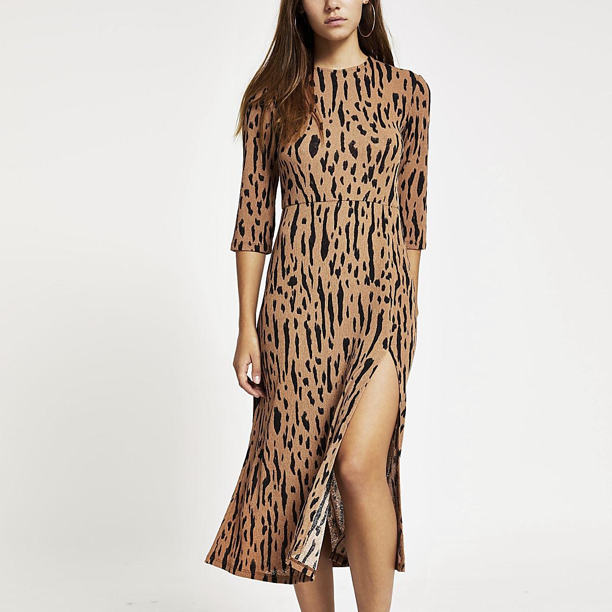 Petite brown print thigh split midi dress