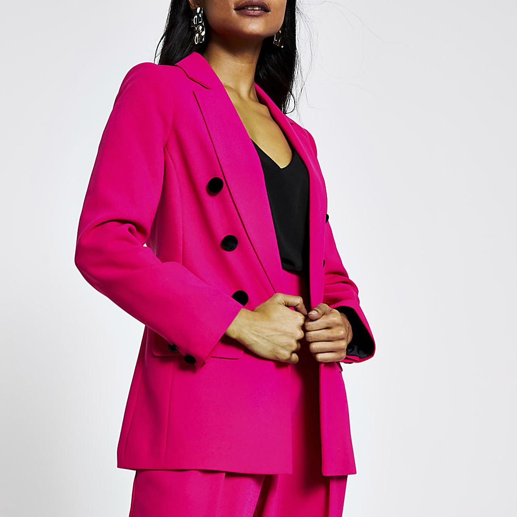 Petite pink open front blazer