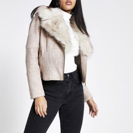 Petite stone faux fur collar biker jacket