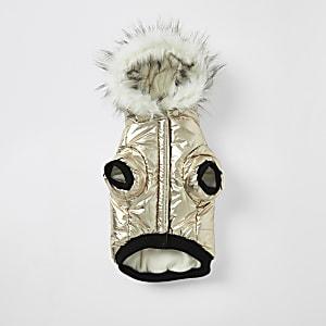 Goldene RI-Daunenjacke für Hunde mit Kunstfellkapuze
