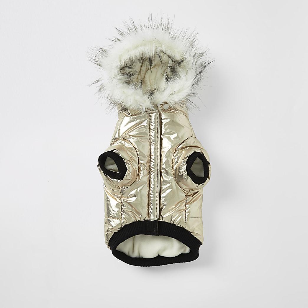Gold RI faux fur hood dog puffer jacket