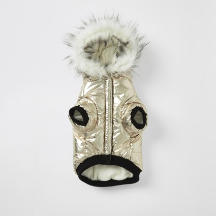 Gold RI faux fur hood dog puffer jacket