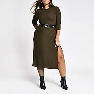 RI Plus - Kaki midi-jurk met lange mouwen