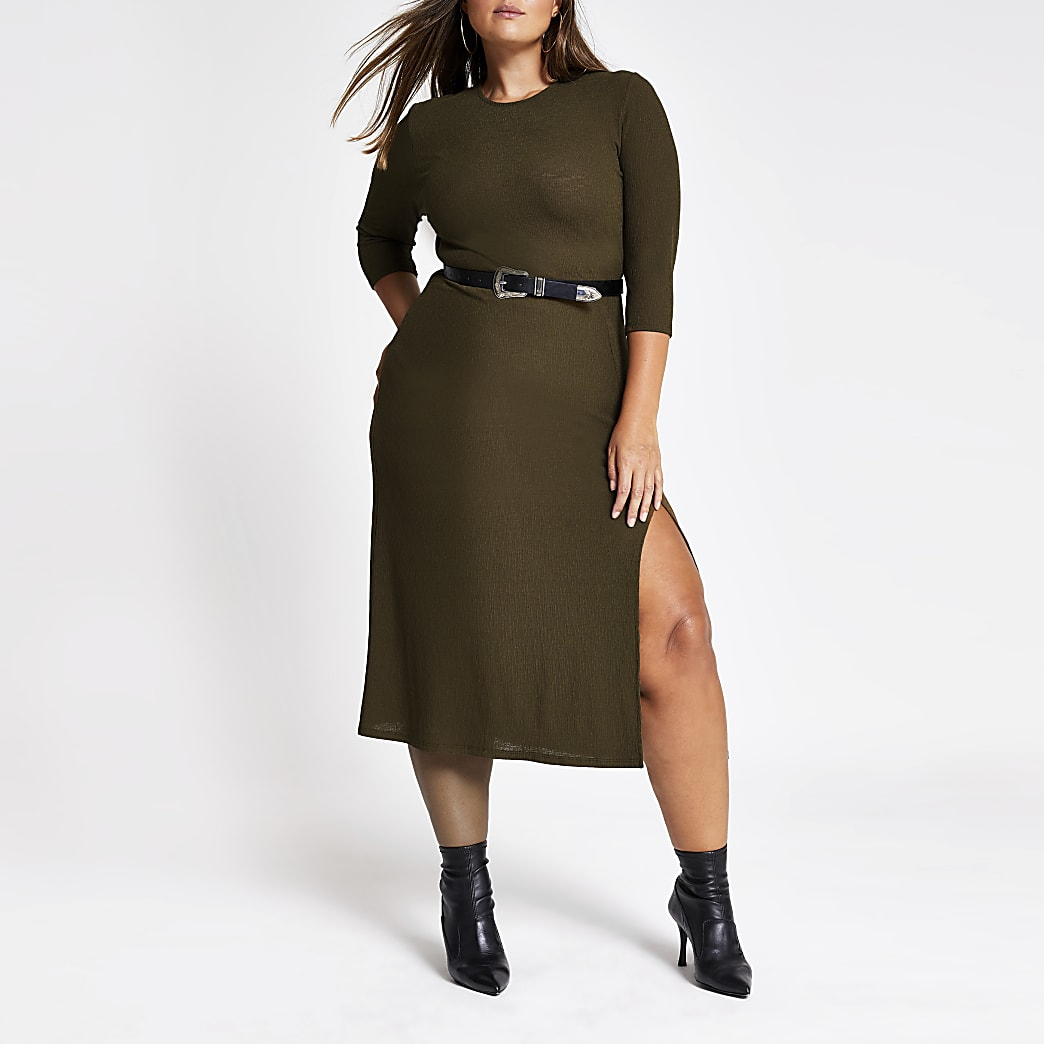 Plus khaki long sleeve midi dress