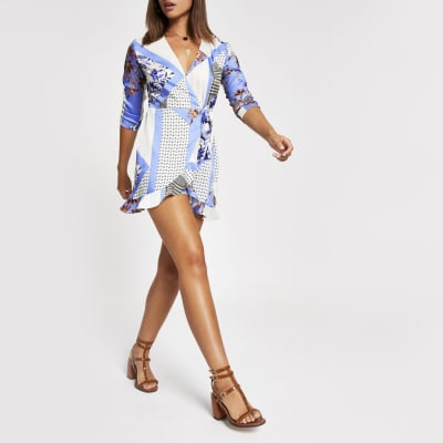 Blue print tie front wrap playsuit