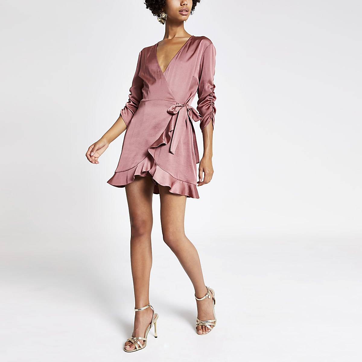Pink wrap front playsuit