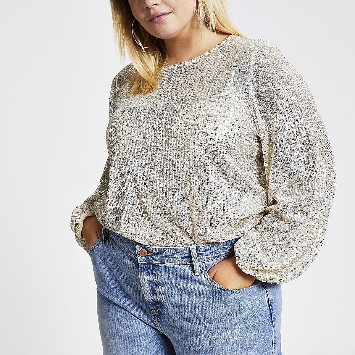 Plus silver sequin long sleeve top