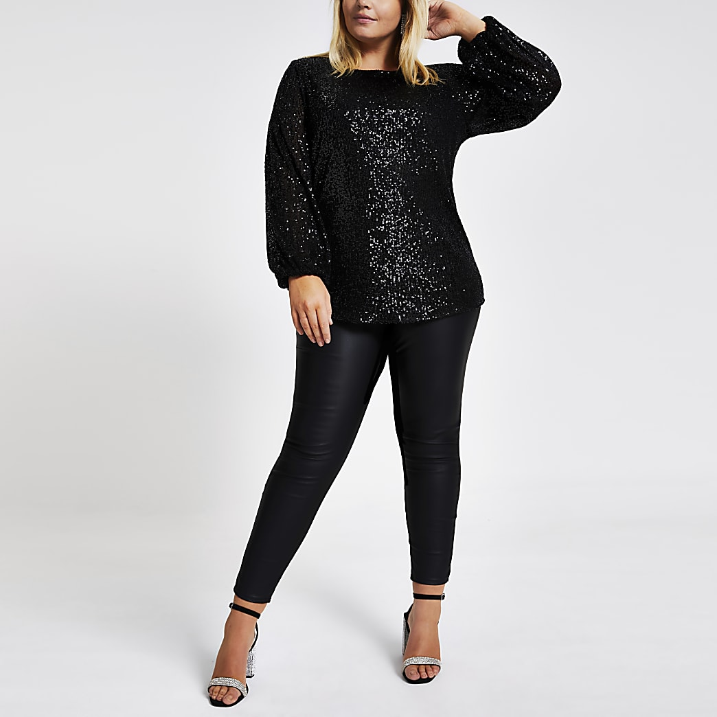 Plus black sequin embellished top