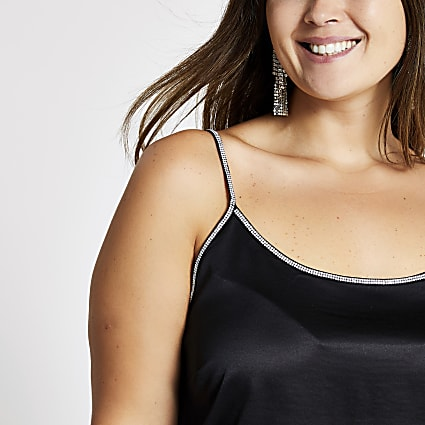 Plus black satin diamante trim cami top