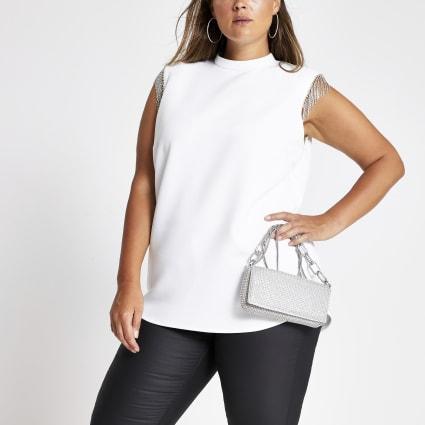 Plus white embellished sleeve top