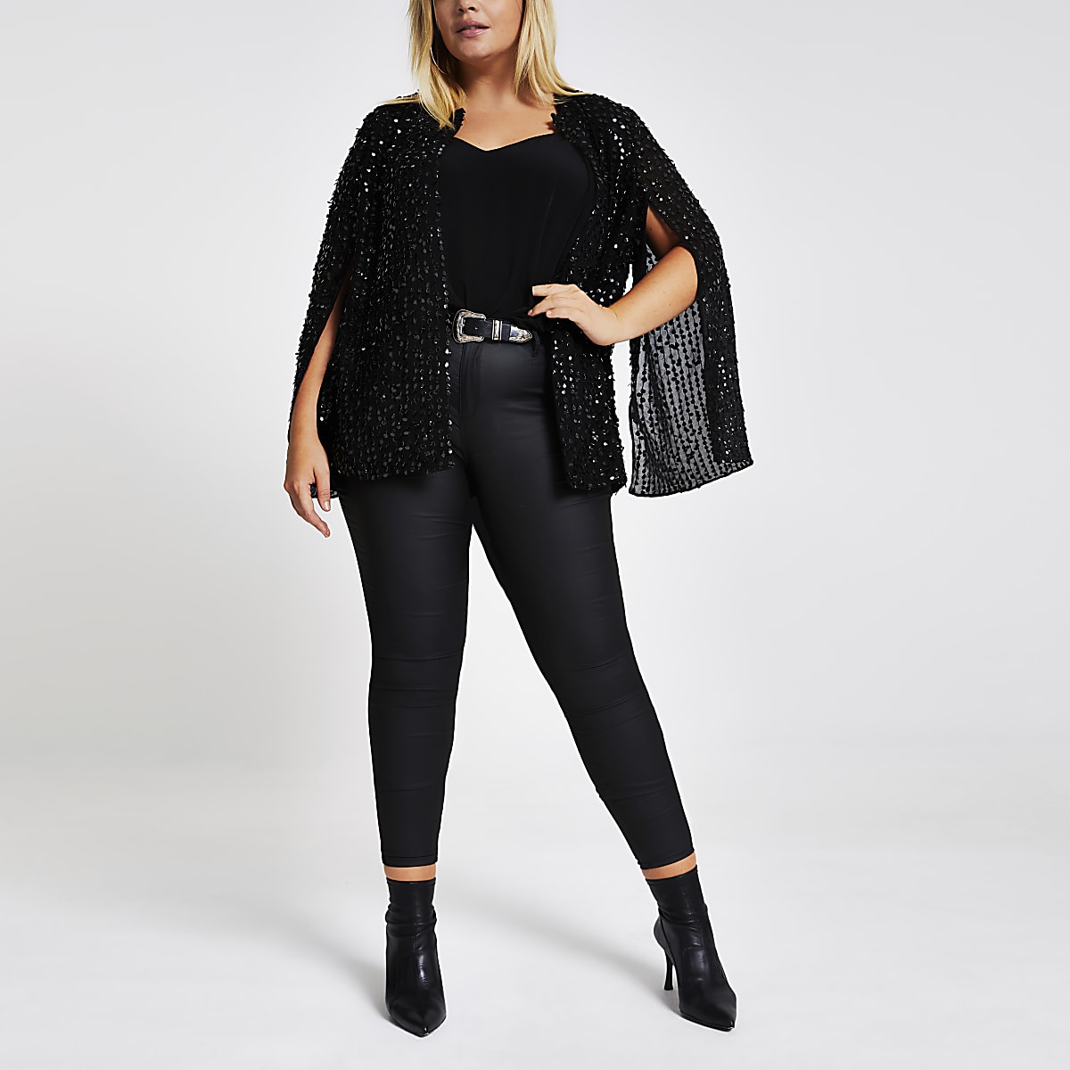 Plus black sequin embellished cape
