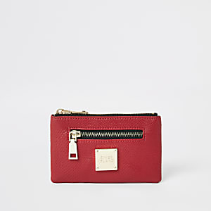 Rode mini-portemonnee met rits en krokodillenprint in reliëf