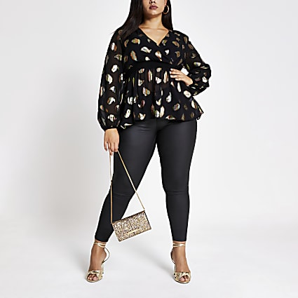 Plus black printed peplum wrap blouse
