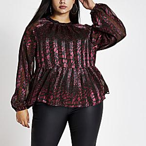 Plus – Langärmelige Bluse in Lila mit Print