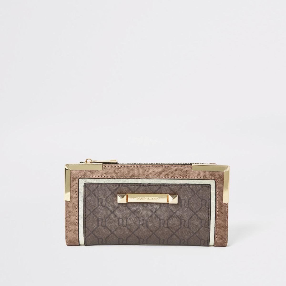 Brown RI monogram foldout metal corner purse