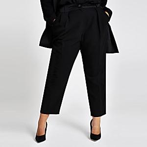 Plus – Schwarze Smoking-Karottenhose mit hohem Bund