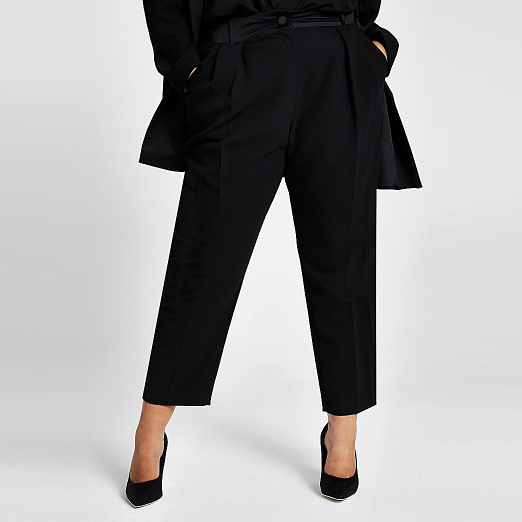 Plus–Pantalon carrotte noir avec taille haute style smoking