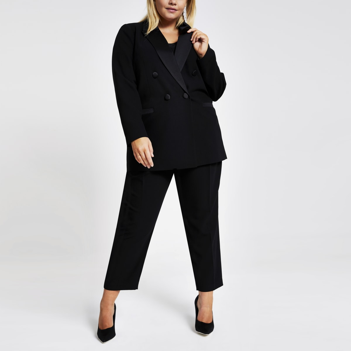 Plus black double breasted satin lapel blazer