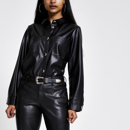 Petite black faux leather overshirt