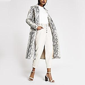 Petite - Pantalon paperbag en PU blanc à boutons