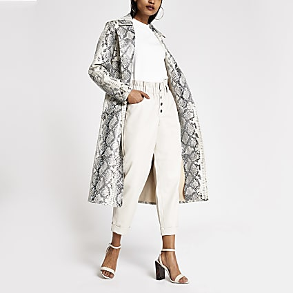 Petite white PU paperbag button trousers