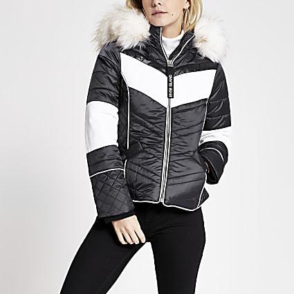 Petite navy colour blocked padded jacket