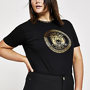 RI Plus - Zwart T-shirt met 'L'amour'- en tijgerprint
