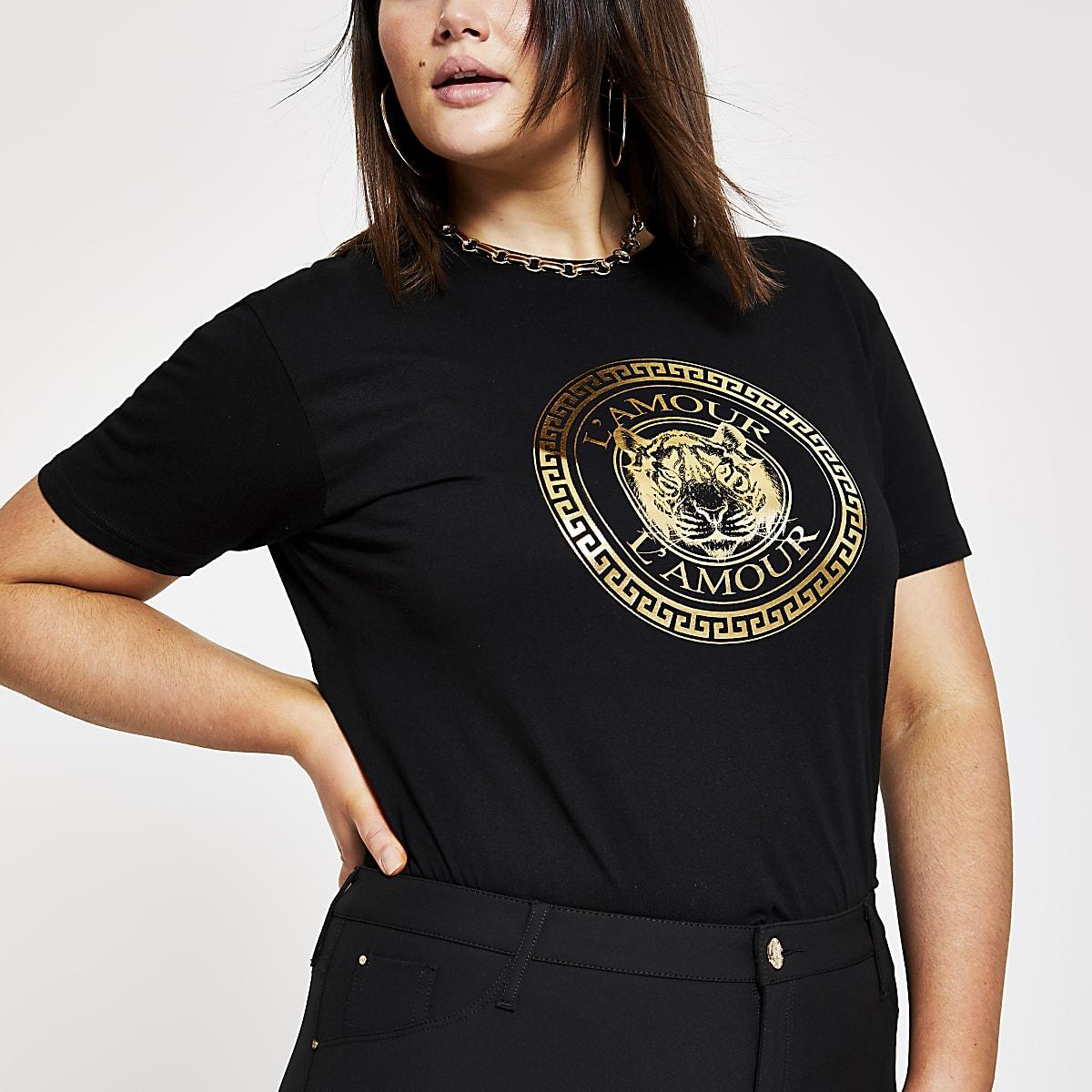 Plus black 'L'amour' tiger print T-shirt